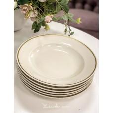 JAEGER kreminio, bavariško porceliano gilios lėkštės, 6 vnt.