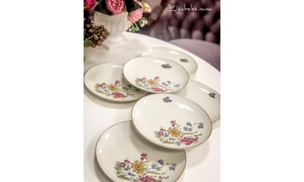 FURSTENBERG kreminio porceliano lėkštės desertui/užkandžiams, 6 vnt.