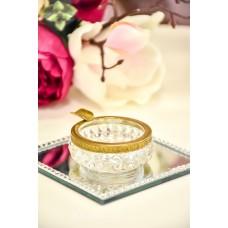 VINTAŽINĖ stiklo peleninė/indelis, dekoruotas žalvariu