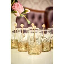 RANKŲ darbo stiklo puodeliai stipriai kavai ar arbatai, žalvario stovelyje, 6 vnt.