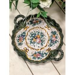 ITALIŠKOS keramikos, rankų darbo dubuo su rankenėlėmis