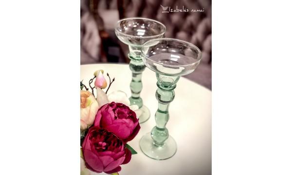 SPALVOTO stiklo žvakidės, 2 vnt.
