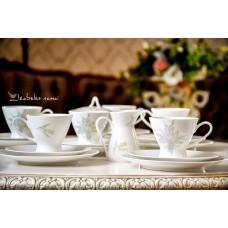 ROSENTHAL balto porceliano puodelių servizas 6 asmenims