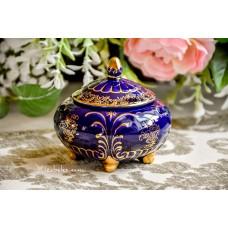 ALCOBACA portugališkos keramikos dėžutė, dekoruota kobaltu