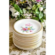 Rankomis tapytos, balto porceliano užkandžių/deserto lėkštės