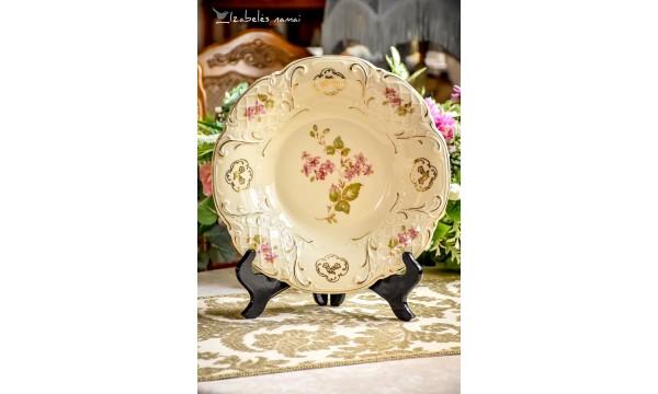 SCHWARZENHAMMER kreminio porceliano didelė ir gili lėkštė - dubuo