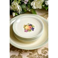LIDKOPING kreminio porceliano lėkščių komplektas 6+1
