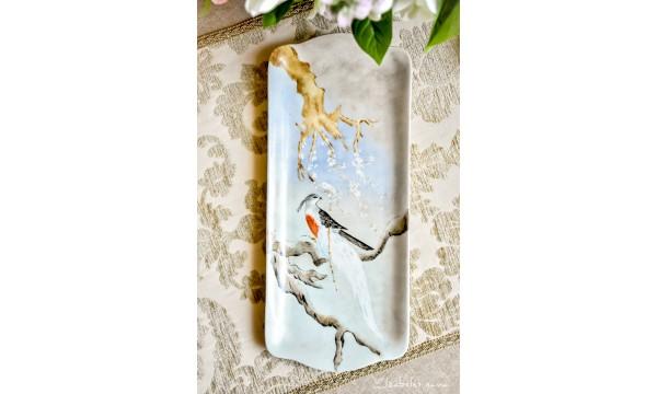 SELTMANN WEIDEN balto porceliano, rankomis tapytas padėklas