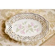 AŽŪRINIS, rankomis tapytas, balto porceliano dubuo