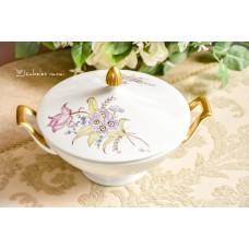 HEINRICH balto porceliano, rankomis tapytas serviravimo indas su dangčiu