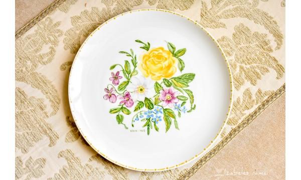 ARZBERG balto porceliano lėkštė, tapyta rankomis