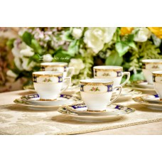 WINTERLING ROSLAU balto bavariško porceliano puodelių komplektas 6 asmenims