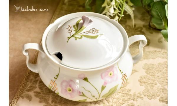 SELTMANN WEIDEN balto porceliano, rankomis dekoruota sriubinė