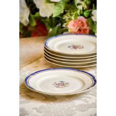 KONIGL.PR.TETTAU švelniai kreminio porceliano, vintažinės deserto lėkštelės, 6 vnt.