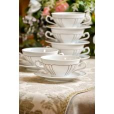 VOHENSTRAUSS JOHANN SELTMANN balto porceliano dubenėliai su ąselėmis, 5 vnt.