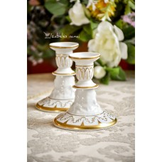 CAPODIMONTE balto porceliano žvakidės, 2 vnt.