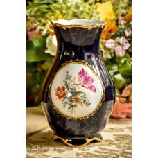 JLMENAU kobaltu ir auksu dekoruota porceliano vaza