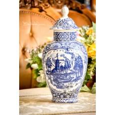 DELFT olandų keramikos didelė vaza su dangčiu