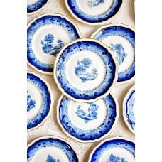 ROSENTHAL CHIPPENDALE balto porceliano, dekoruotos kobaltu, deserto lėkštelės